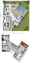 plano de hermosa casa con 4 dormitorios y 2 garajes estilo
