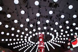 kinetic lights installation with dmx winches and lift led balls