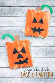 popsicle stick jack o lantern kid craft idea halloween