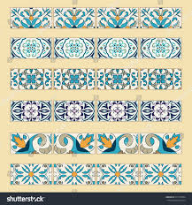 Tile Borders Vector Set Decorative Tile Borders Collection Stock Vector