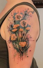 watercolor dandelions flowers tattoo on arm tattooimages biz