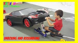 corvette power wheels unboxing and assembling the power wheel ride on corvette 6 volt
