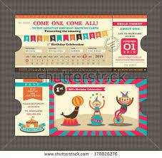 wedding invitation clown birthday greeting card vector show clowns birthday card circus ticket pass design stock vector 178826276