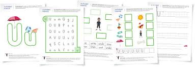 alphabet parade letter u worksheets and activity suggestions