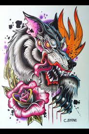 neotraditional wolf neo traditional
