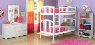 White Painted Oak Furniture White Painted Mahogany Wood Little Bunk Beds With Blue Shade