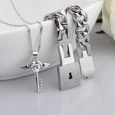 silver heart key necklace images Couples stainless steel angel 39 s heart key necklace and bracelet jpeg