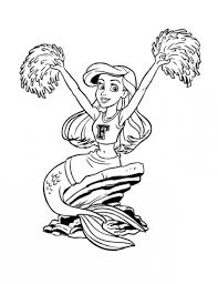 little mermaid coloring pages printable ariel little mermaid in cheerleader costume coloring page