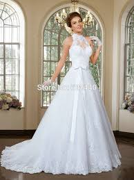 halter wedding dresses ivory tulle and lace flowers bridal mermaid wedding