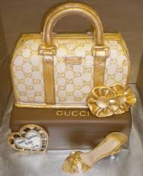 gold gucci handbag and shoe cake birthday cake pleeease