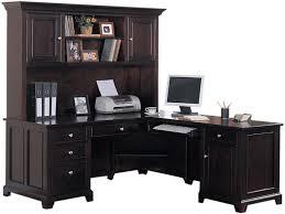L Shaped Desk With Bookcase Enticing Corner Desks With Hutch Solid Wood Construction Espresso