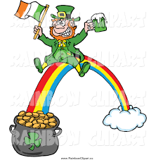 vector clip art of a leprechaun with beer and an irish flag
