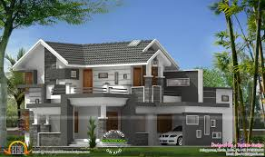 sloped roof modern mix house kerala home design floor plans home