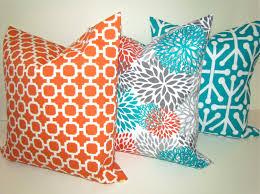 sale throw pillows set of 2 16x16 teal orange throw pillow