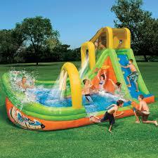 Backyard Water Slide Inflatable by Banzai Backyard Water Slide Typhoon Twist Outdoor Furniture