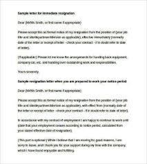 sample formal letter for immediate resignation templatezet