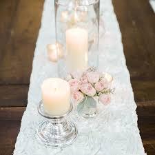 pink rosette table runner white rosette table runner emporium bride