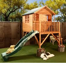 Wooden Backyard Playhouse Excellent Wooden Outdoor Playhouse Design With Decks And Green