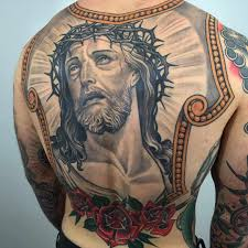 tattoo jesus rose back tattoo tattoo for men neo traditional