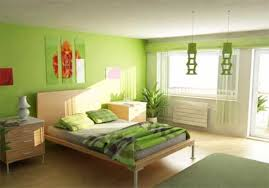 stylish green white combination color bedroom with green round