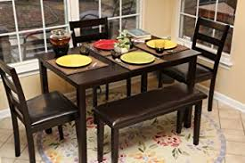 Dining Room Bench Sets 5pc Dining Dinette Table Chairs Bench Set Espresso