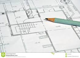 architectural plan house with pen pencil stock photo image