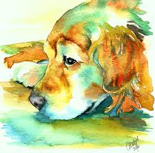 golden retriever profile painting by christy freeman