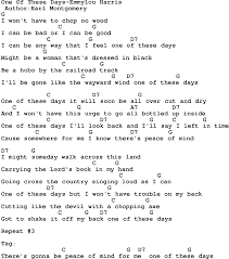 country one of these days emmylou harris lyrics and chords