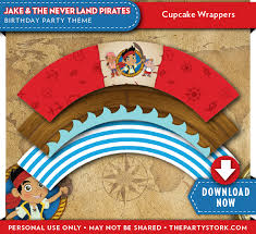jake neverland pirates birthday cupcake wrappers