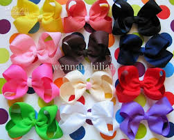 2017 wholesale small chunky solid hair bows small grosgrain ribbon