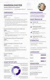 Best Resume Fonts For Business by Read A Sample Cv From Marissa Mayer Business Insider