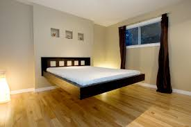 Cool Bedframes Wonderful Floating Bed Design Inspiration With Awesome Black Wood