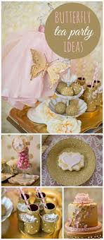 gold and pink tea s day butterfly kisses