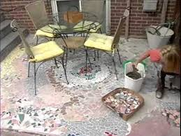 How To Make A Mosaic Table Top How To Make A Recycled Tile Mosaic Patio Youtube