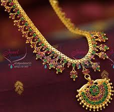 fashion jewellery necklace set images Nl0734 ruby emerald gold design imitation jewellery necklace set jpg