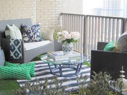 Condo Patio Furniture Toronto Cosy Balcony Rattan Sofa Decorative Pillows Carpet Glass Table