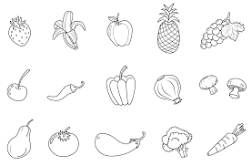 free printable fruit coloring pages for kids for and vegetable