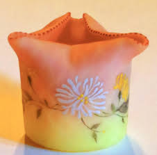 tooth pick holders mt washington decorated burmese art glass dq toothpick holder