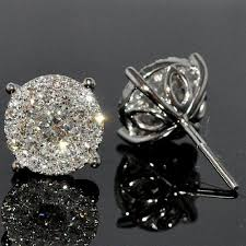 back diamond earrings diamond stud earring 1 85ctw xl big cluster large solitaires