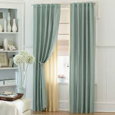 Green Color Curtains Good Looking White Wooden Built In Open Cabinets As Storage As