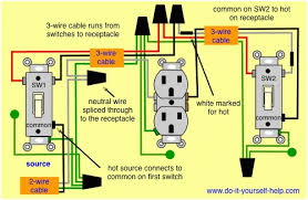 how to wire a 3 way light switch and an outlet wiring diagram