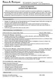 Sample Operations Manager Resume by Resume Hr Consultant Resume Cover Letter For Food Industry