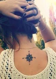 small compass ideas back of neck spine womens tats