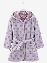 robe de chambre bébé 18 mois peignoir de bain enfant à capuche à personnaliser violet coeur