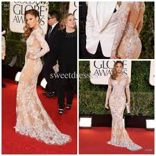 formal evening gowns 70th gold globe awards long sleeve white lace