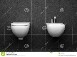 Modern Toilet With Black Tiles On Wall Stock Photo Image 14932696