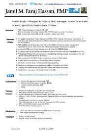 pmp certified resume sample project management resume format