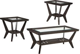 glass coffee table set of 3 cheap 3 piece wood glass coffee tables set by ashley