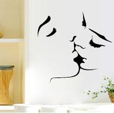 Vinyl Wall Stickers Custom Romantic Lovers Kissing Wall Decals Living Room Bedroom Removable
