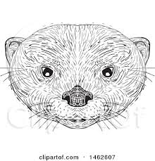 clipart of a black and white asian small clawed otter face in